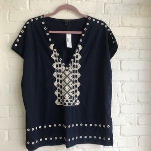 J Crew New w/ tag blue blouse short sleeve Medium